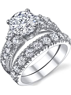 solid sterling silver 925 engagement ring set bridal rings with cubic zirconia - Cz Wedding Ring Sets
