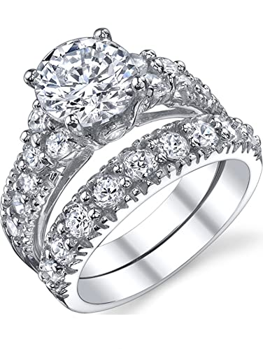 Solid Sterling Silver 925 Engagement Ring Set Bridal Rings With Cubic  Zirconia Size 4