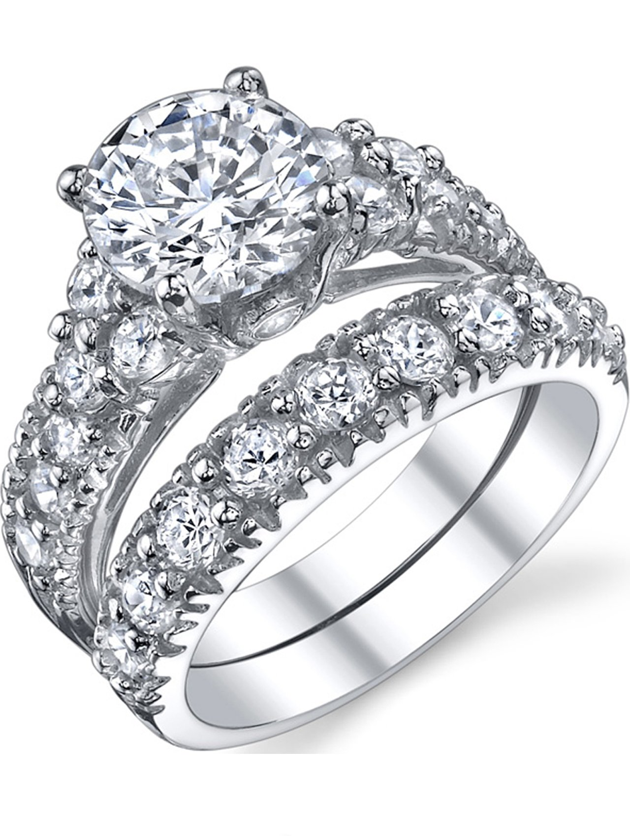 Sterling Silver Engagement Ring Bridal Set with Cubic Zirconia CZ Size 6