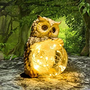 COTYNI Owl Garden Lights Handcrafted LED Solar Decorative Lights Perfect Garden Statue for Patios, Pools, Yard, Waterproof, Design with Longer, Brighter Charge & Smart Light Sensors