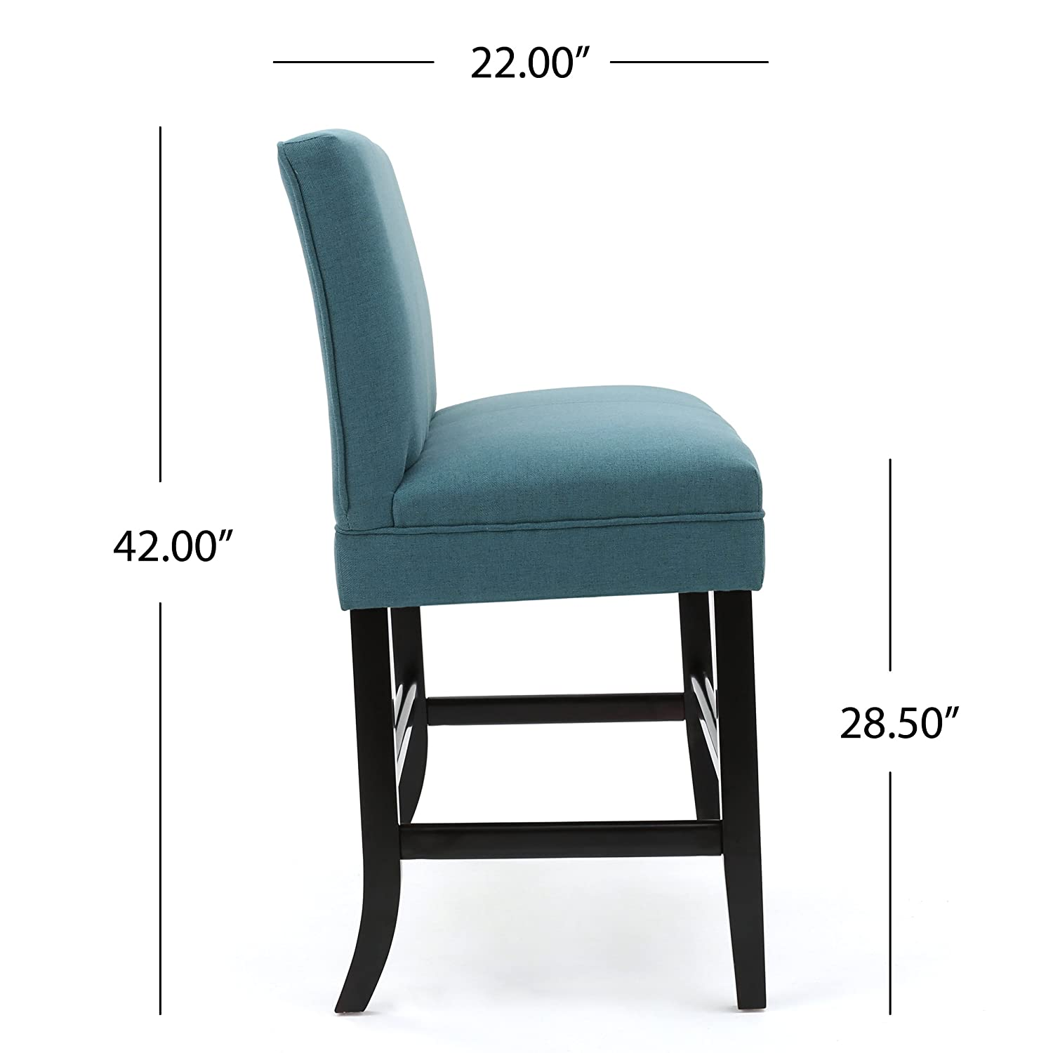 Amazon.com: Emilia Dark Teal Fabric Barstool Bench: Kitchen & Dining