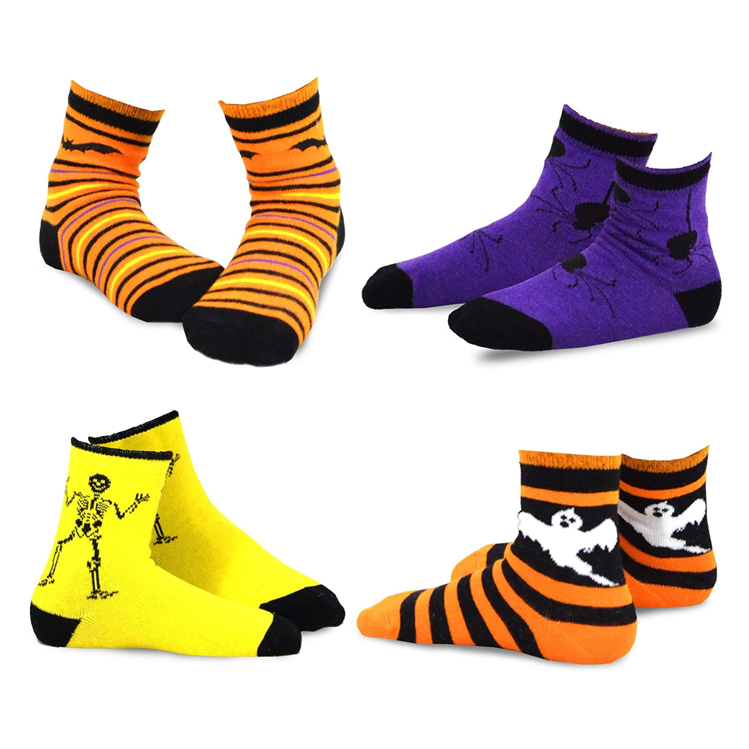 TeeHee Halloween Kids Cotton Fun Crew Socks 4-Pair Pack