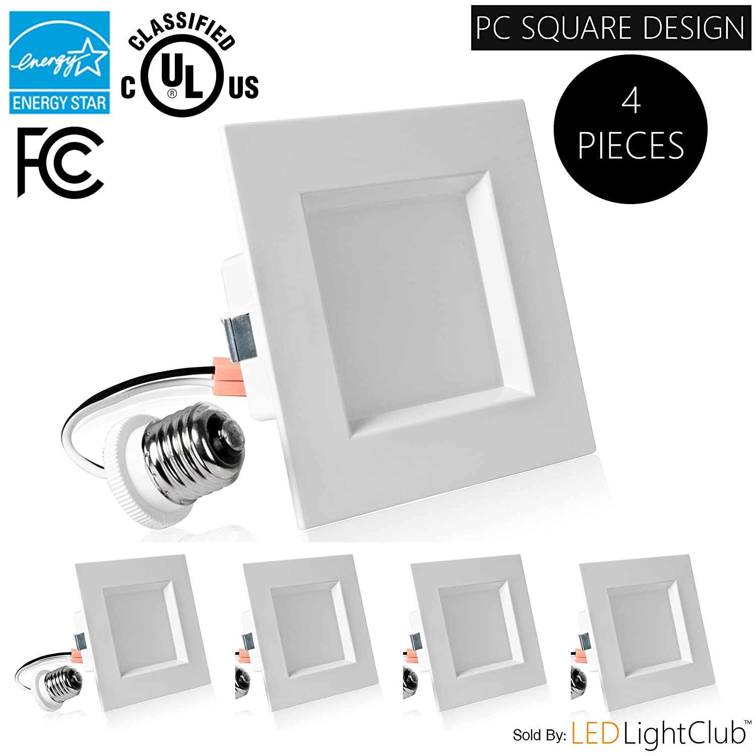 4 pack 4 inch led square retrofit downlight 10w 65w replacement