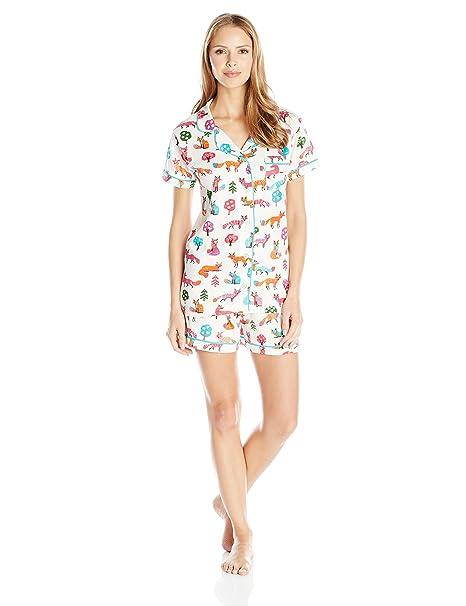 Hatley Womens PJ tee Set-Party Fox, Conjuntos de Pijama para Mujer, Blanco