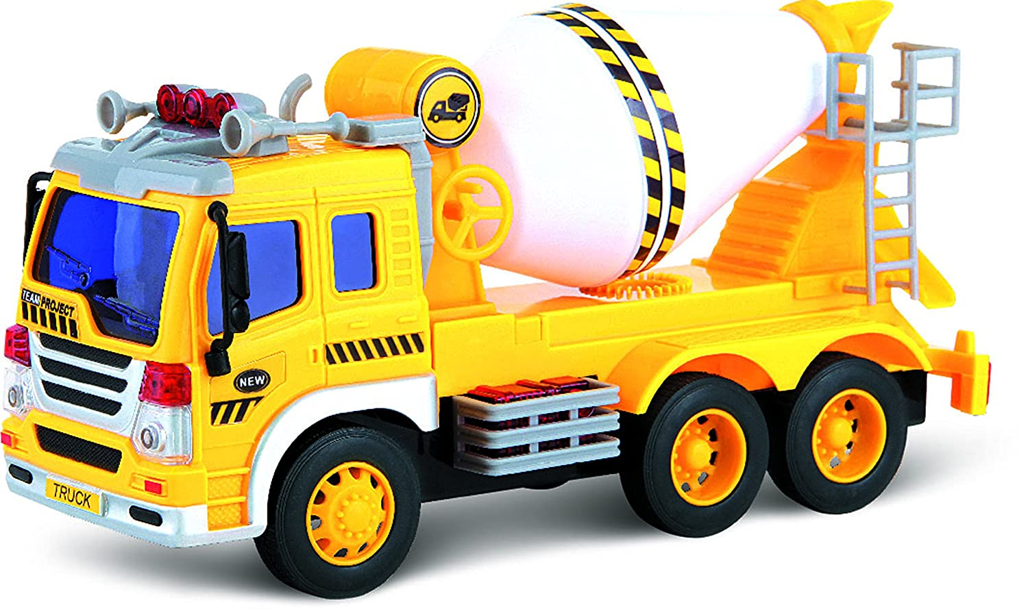 by ThinkGizmos Friction Powered Toy Cement Mixer Truck with Lights /& Sound TG640-C Push /& Go Friction Truck Toy for Boys /& Girls Aged 3 Trademark Protected