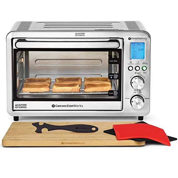 ConvectionWorks Hi-Q Intelligent Countertop Oven Set, 6-Slice Compact Convection Toaster, w/ Bamboo Cutting Board & Silicone Rack Handle (10 Accessories, Rotisserie & Spit Included best toaster ovens), 1500 Watt, Stainless Steel, Teflon-free best toaster ovens