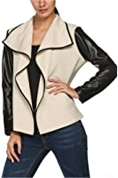 Zeagoo Women Synthetic Patchwork Front Open Cardigan Thin Spring Leather Jacket