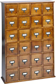 Leslie Dame CD 456W Solid Oak Library Card File Media Cabinet, 24 Drawers,