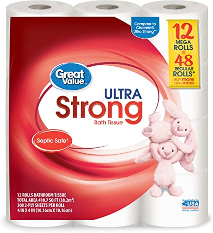 Great Value 3-Ply Toilet Bath Tissue 425 Sheets 6 Rolls
