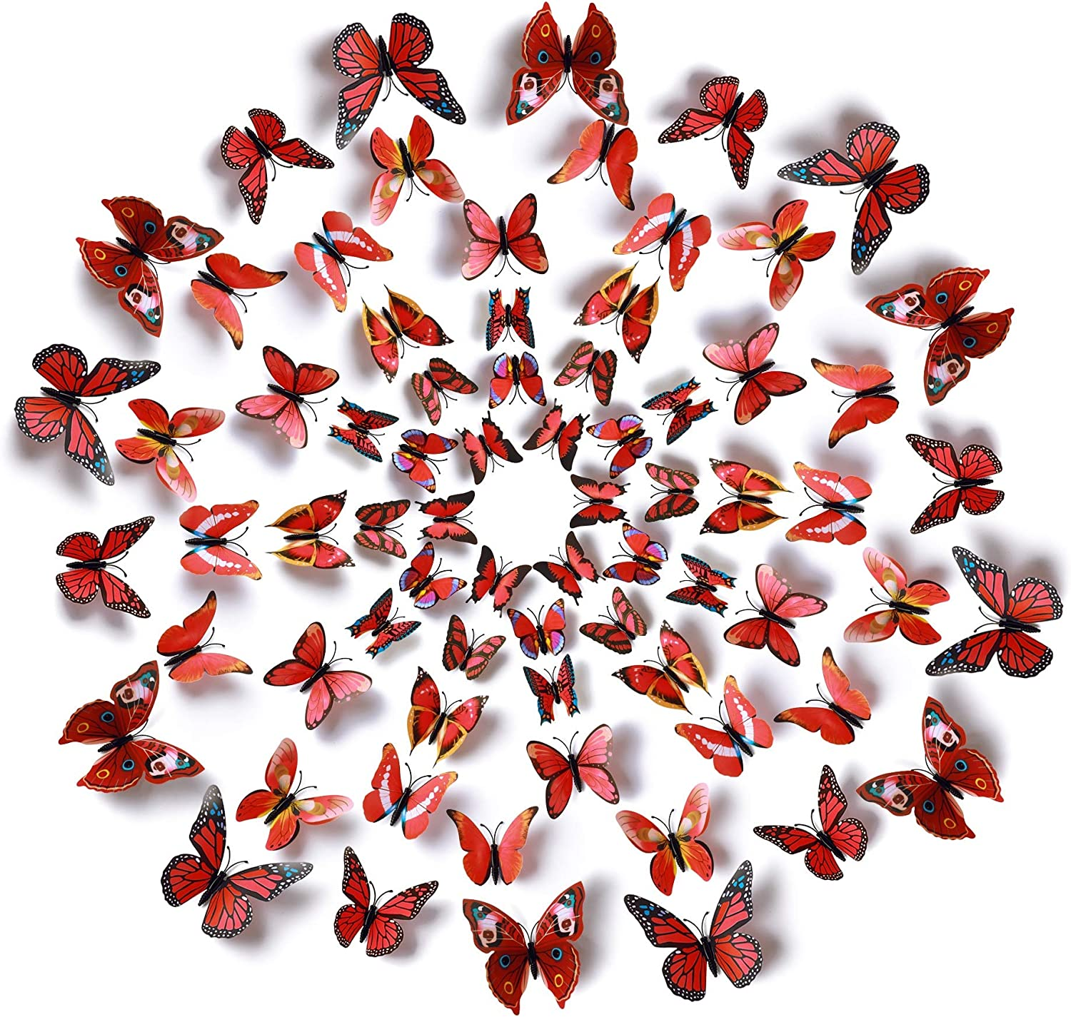 Amaonm 60 Pcs 5 Packages Beautiful 3D Butterfly Wall Decals Removable DIY Home Decorations Art Decor Wall Stickers & Murals for Babys Bedroom Tv Background Living Room (Red)