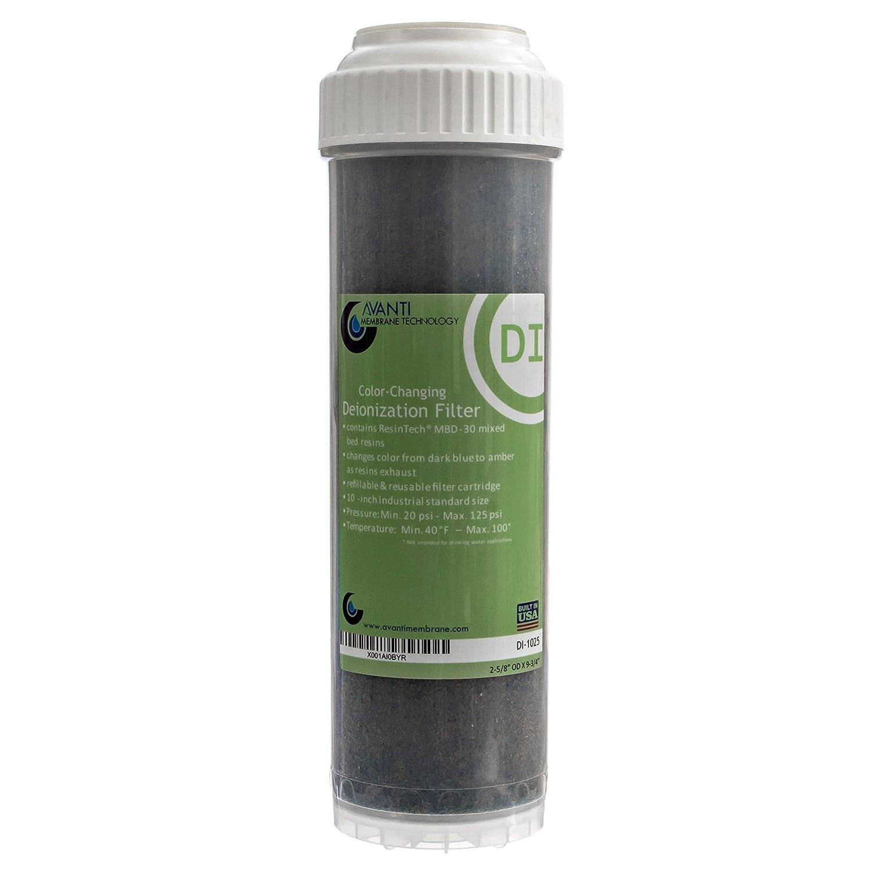 2-1 2\ Avanti color-Changing Deionization DI Cartridge w ResinTech MBD-30 Mixed Bed Resin refillable, 2-1 2  OD X 10  L (DI-1025)