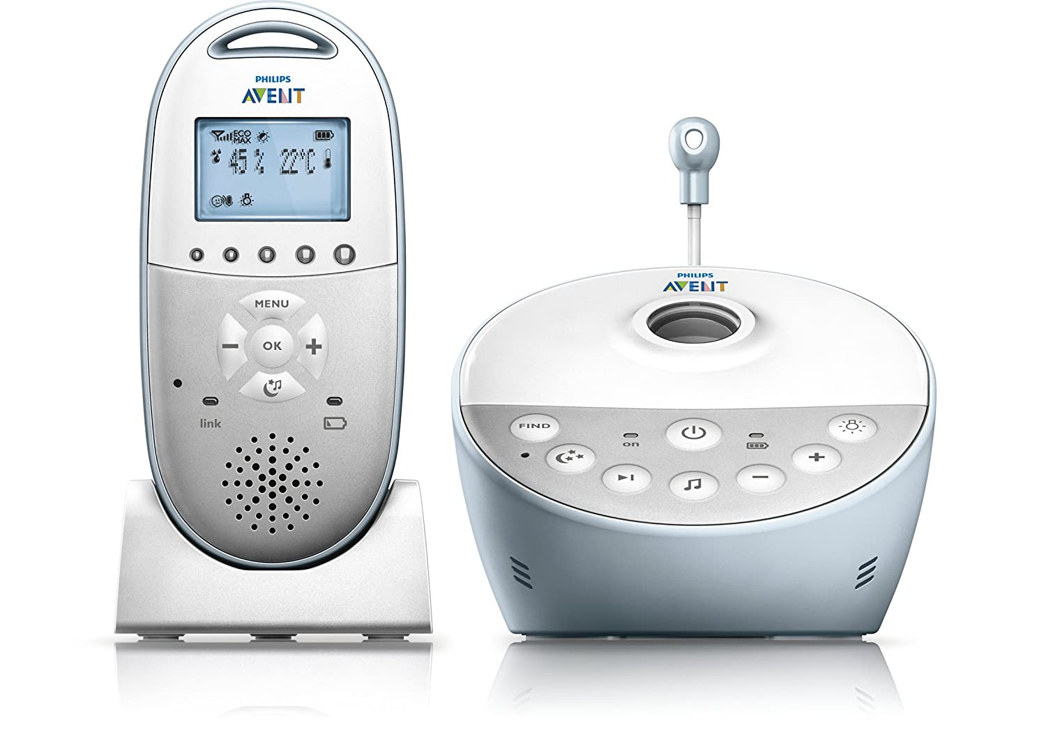 Philips AVENT DECT Baby Monitor SCD580/01 with Starry Night Projector and Climate Alert SCD580/00
