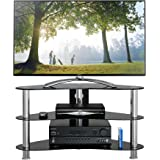 1home GT7 Curved Glass Stand for 37 - 42-Inch Plasma/LCD/LED/3D TV