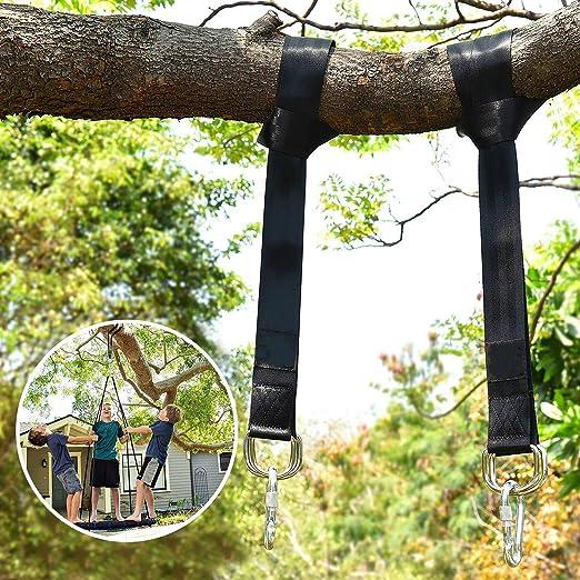Wilbest Columpios, Hamaca Correas Árbol, Accesorios Juego de 2 Correas para Colgar el Árbol 150CM Con D-Ring, Dos Ganchos Carabiners - Carga Máxima 500KG - el Oscilación Para Niños Adultos: Amazon.es: Jardín