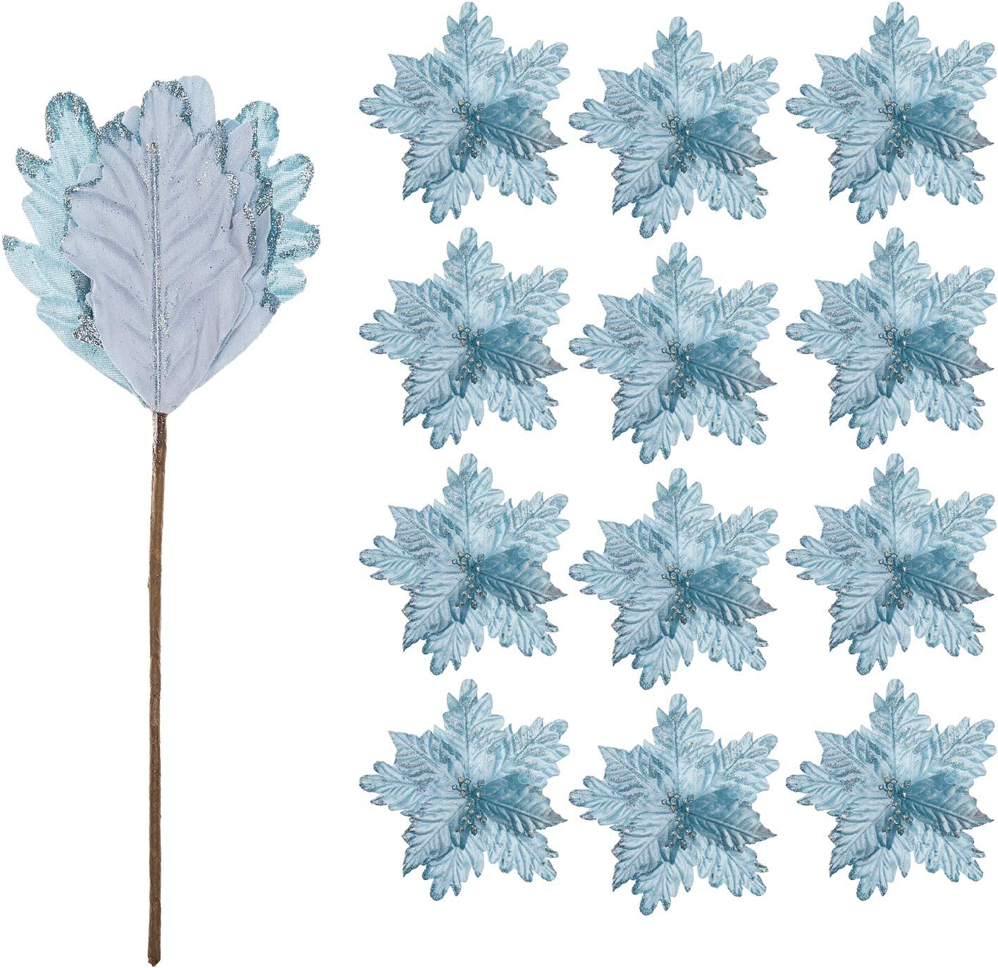 FuleHouzz 12pcs Glitter Decorated Large Poinsettias Decorative Christmas Flower Stems for Christmas Tree Wreaths Wedding Decor, Blue