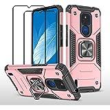 ZMONE Funda para Motorola MOTO E7 Plus / G9 Play Carcasa con protector de pantalla [2 Pack] Carcasa de armadura resistente a
