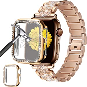 Mesime Compatible for Apple Watch Band 38mm 40mm 42mm 44mm with Screen Protector Case, Jewelry Replacement Metal Band & 2-pack Bling Full Cover Protective Case for iWatch Series 6/5/4/3/2/1(Rose Gold)
