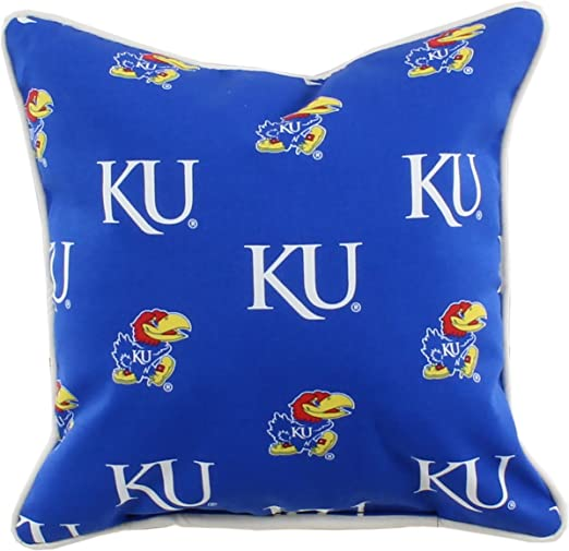 College Covers Kansas Jayhawks Outdoor Decorative Throw Pillow 16 X 16 Home Kitchen