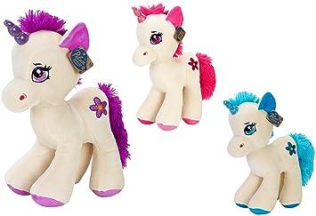 Globo Toys, Unicornio de Peluche parado de 3 Colores, 39 cm, Globo 83369