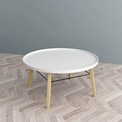 White Finish Round Bentwood Round Coffee Table