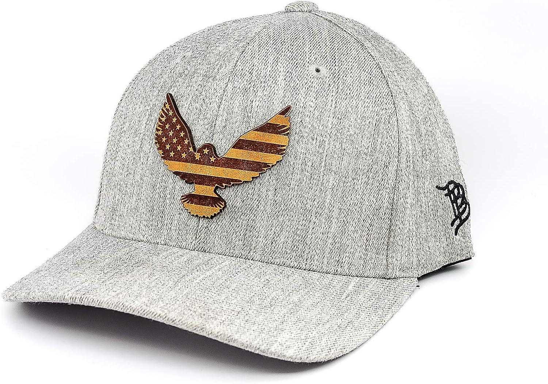 Branded Bills //'Freedom Eagle/' Leather Patch Hat Flex Fit SM//MD//Heather Grey