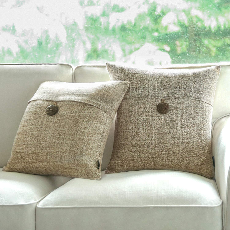 "Phantoscope Set of 2 Button Beige Linen Decorative Throw Pillow Case Cushion Cover 18""X18 -New!!"