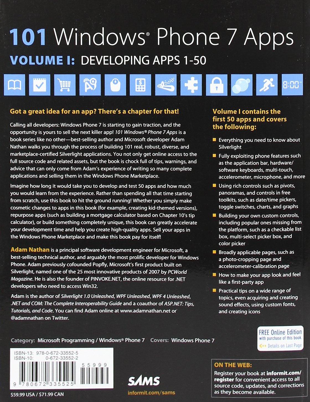 Amazon.fr - 101 Windows Phone 7 Apps, Volume I: Developing Apps 1-50 - Adam  Nathan - Livres