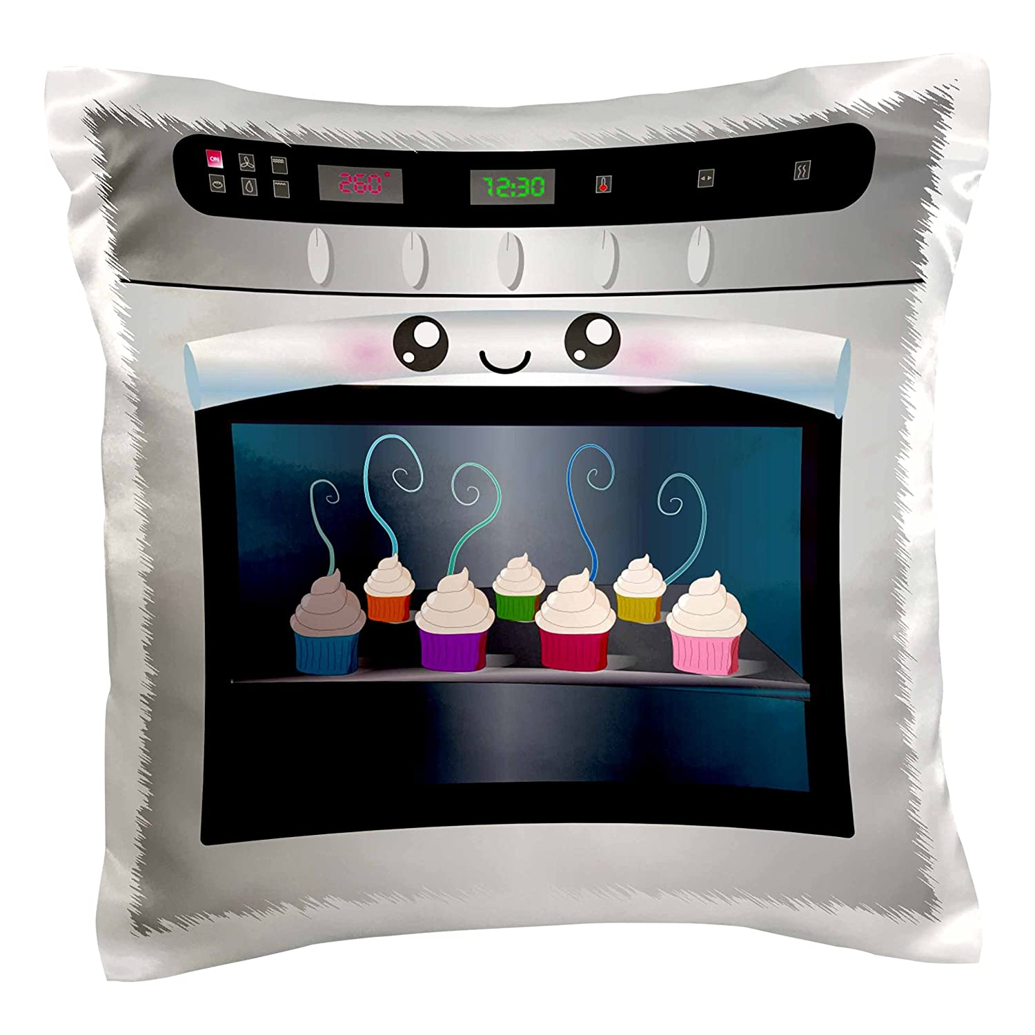 16 by 16 3dRose pc/_58309/_1 Cute Kawaii Happy Smiling Oven Filled with Baking Cupcakes-for Chefs Foodies and Cooking Fans-Pillow Case