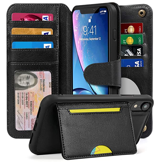 timeless design 2ab6c d0362 Cornmi Wallet Case Compatible for iPhone Xr, Detachable Wallet Leather  Cover 13 Card Slots Wristlet and Shoulder Strap Handbag Purse Flip Stand  Slim ...