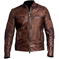 AKMAK Men's Biker Cafe Racer 1 Brown Motorcycle Vintage Retro Real Leather Jacket