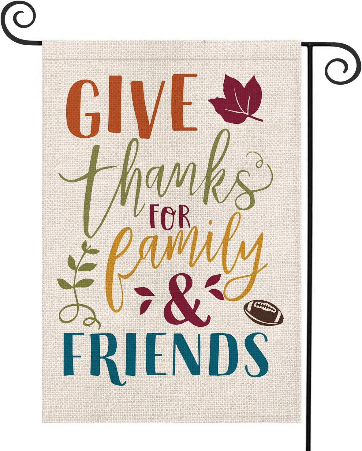 AVOIN Give Thanks for Family and Friends Garden Flag Vertical Double Sized, Fall Thanksgiving Football Yard Outdoor Decoration 12.5 x 18 Inch