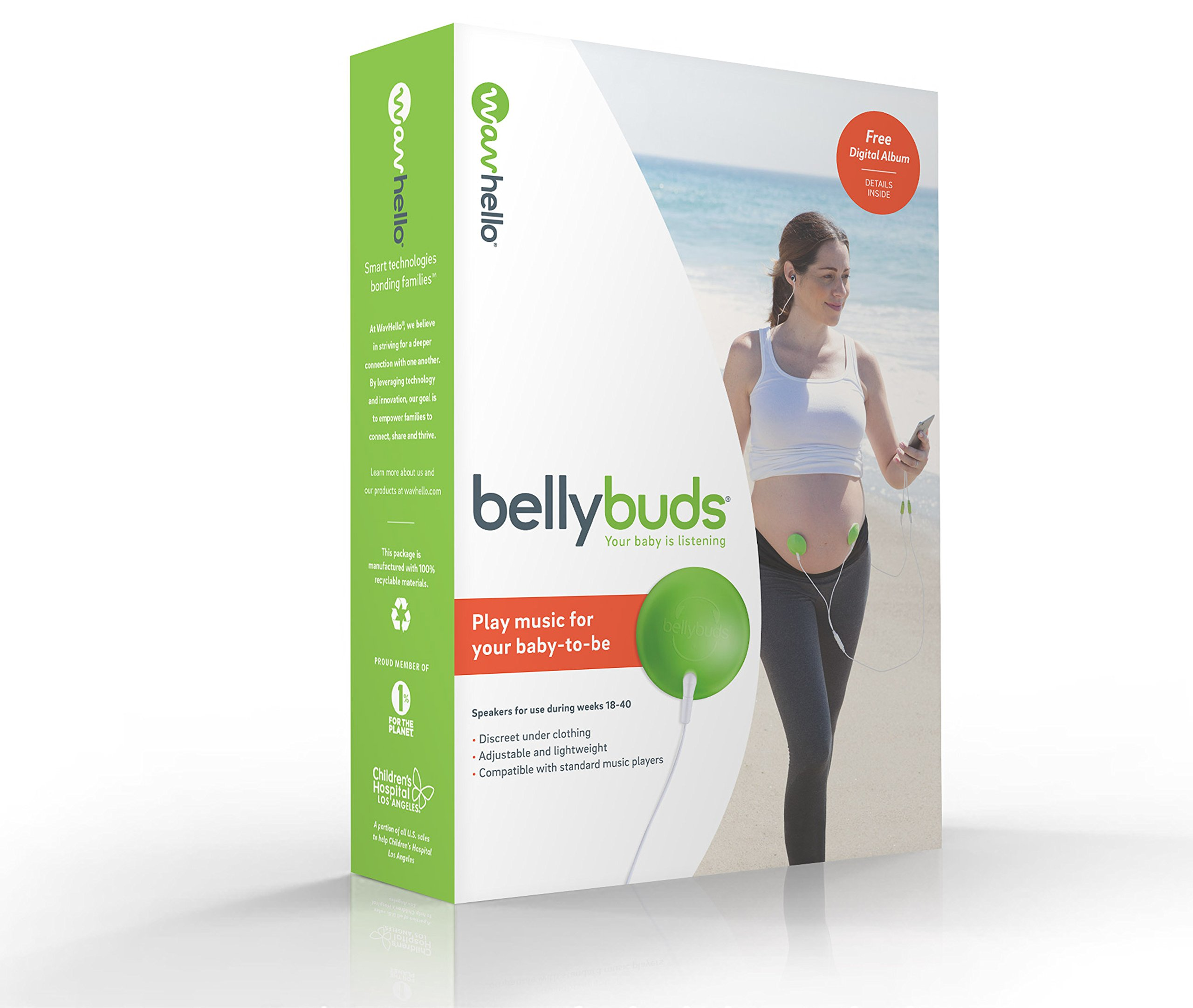BellyBuds by WavHello, Pregnancy Baby-Bump Headphones | Prenatal Bellyphones Play Music, Sound and Voices to the Womb - 5th Generation