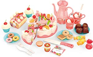 FIXSON Cutting Birthday Cake Toys for Toddlers DIY Pretend Food for Play Kitchen Set with Lights and Music 82 Pcs