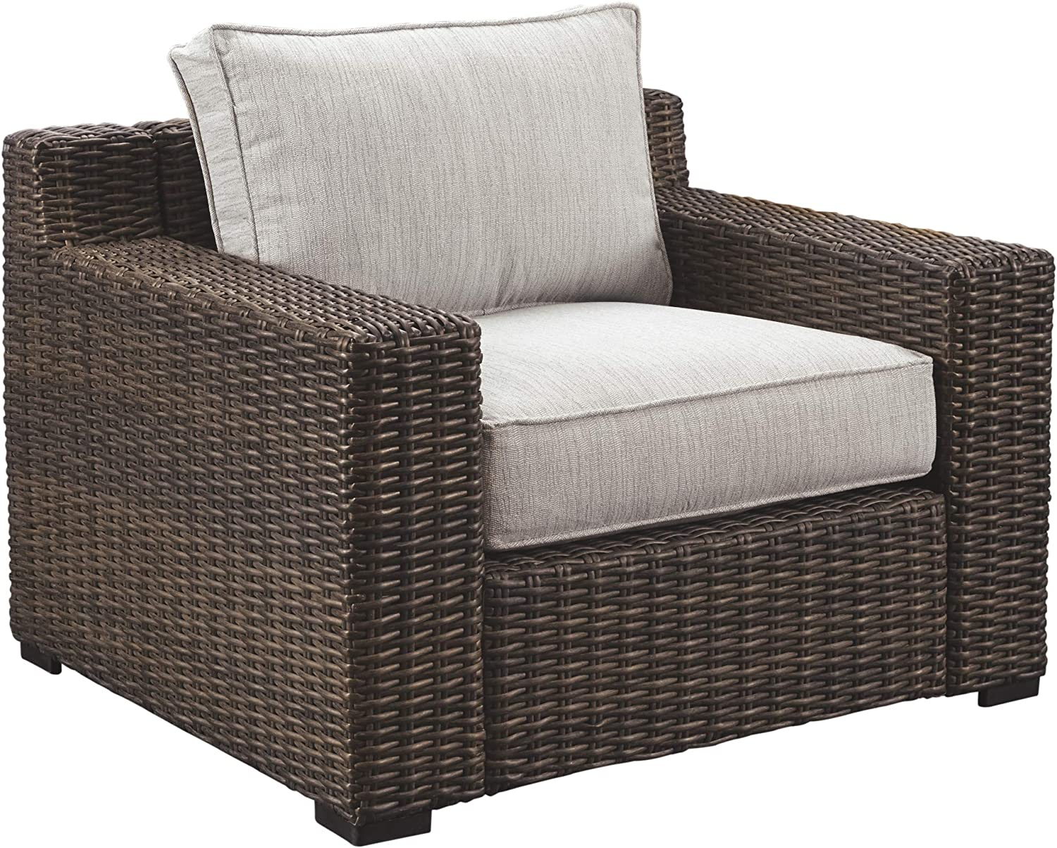 Ashley Furniture Signature Design – Alta Grande Outdoor Lounge Chair with Cushion – Beige Brown