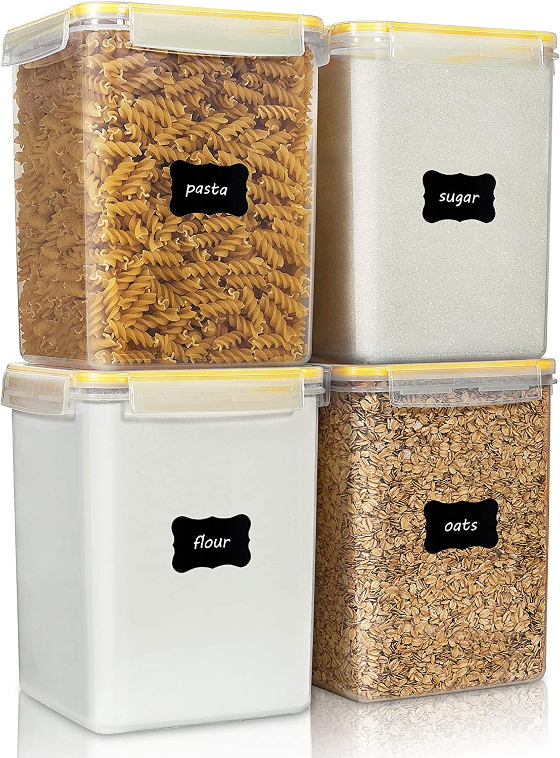 Large Food Storage Containers 5.2L / 176oz, Vtopmart 4 Pieces BPA Free Plastic Airtight Food Storage Containers for Flour, Sugar, Baking Supplies, with 4 Measuring Cups and 24 Labels, Yellow