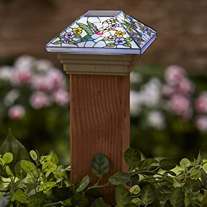 Amazon Com The Lakeside Collection Faux Stained Glass Solar Post Cap Light With Hummingbird Motif Garden Outdoor