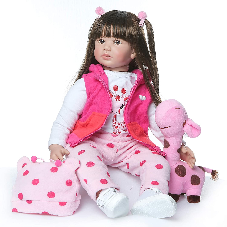 ZIYIUI 24 Pulgadas 60cm Muñeca renacida Muñeca de niño Muñeca de Vinilo de Silicona Muñeca Realista Chica asiática Pelo Largo Negro Reborn Doll