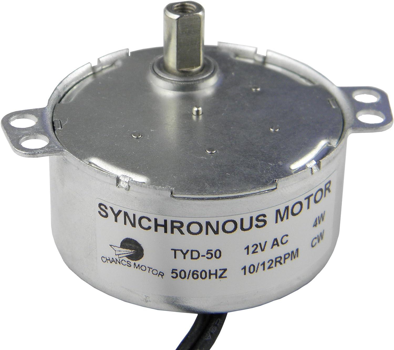 CHANCS Motor de Engranajes Sincrónico Motor sincronizado TYD-50 12V AC 10-12 RPM Rotación Fija CW Motor eléctrico