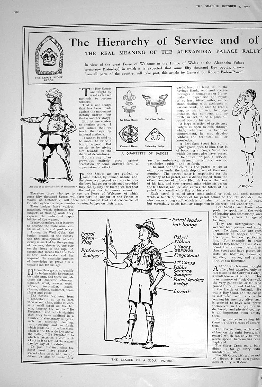 Old Original Antique Victorian Print 1922 Boy Scouts Prince