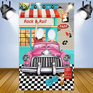 50's Decorations 50's Theme Party Rock and Roll Backdrop Banner Background Photo Booth Props for 1950's Party Decoration