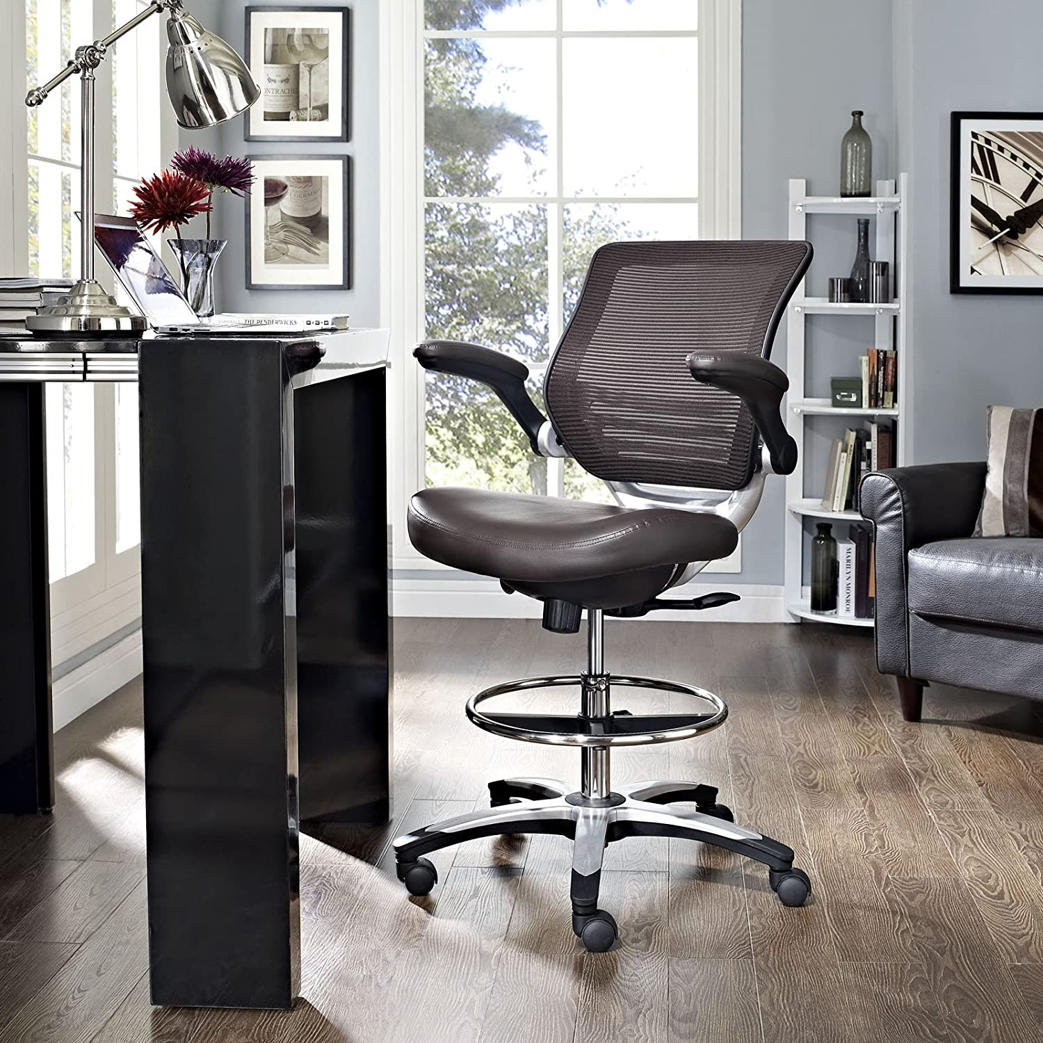 Amazon Modway Edge Drafting Chair In Brown Vinyl Reception