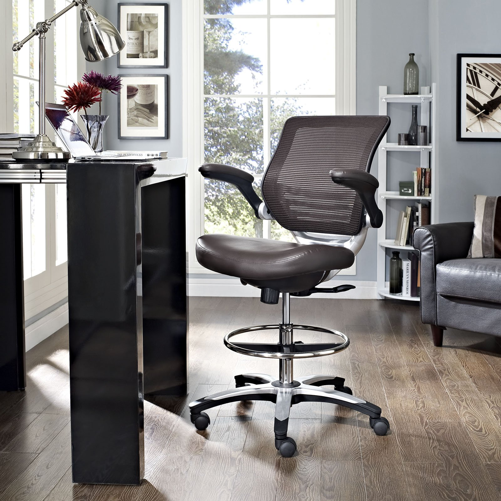 Modway Edge Drafting Chair In Brown - Reception Desk Chair - Tall Office Chair For Adjustable Standing Desks - Flip-Up Arm Drafting Table Chair by Modway (Image #6)