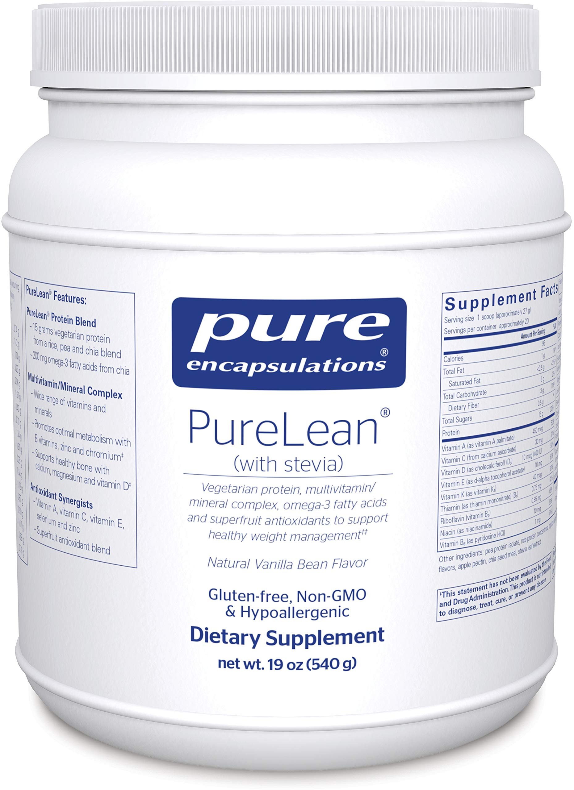 Amazon.com: Pure Encapsulations - PureLean (with Stevia) - Vegetarian Protein for Healthy Weight Management** - Vanilla Bean Flavor - 540 Grams: Health ...