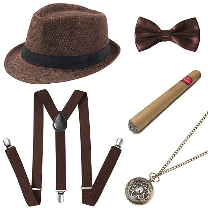 1920s Men's Costumes: Gatsby, Gangster, Peaky Blinders, Mobster, Mafia BABEYOND 1920s Mens Gatsby Gangster Accessories Set Panama Hat Suspender Bow Tie $18.99 AT vintagedancer.com