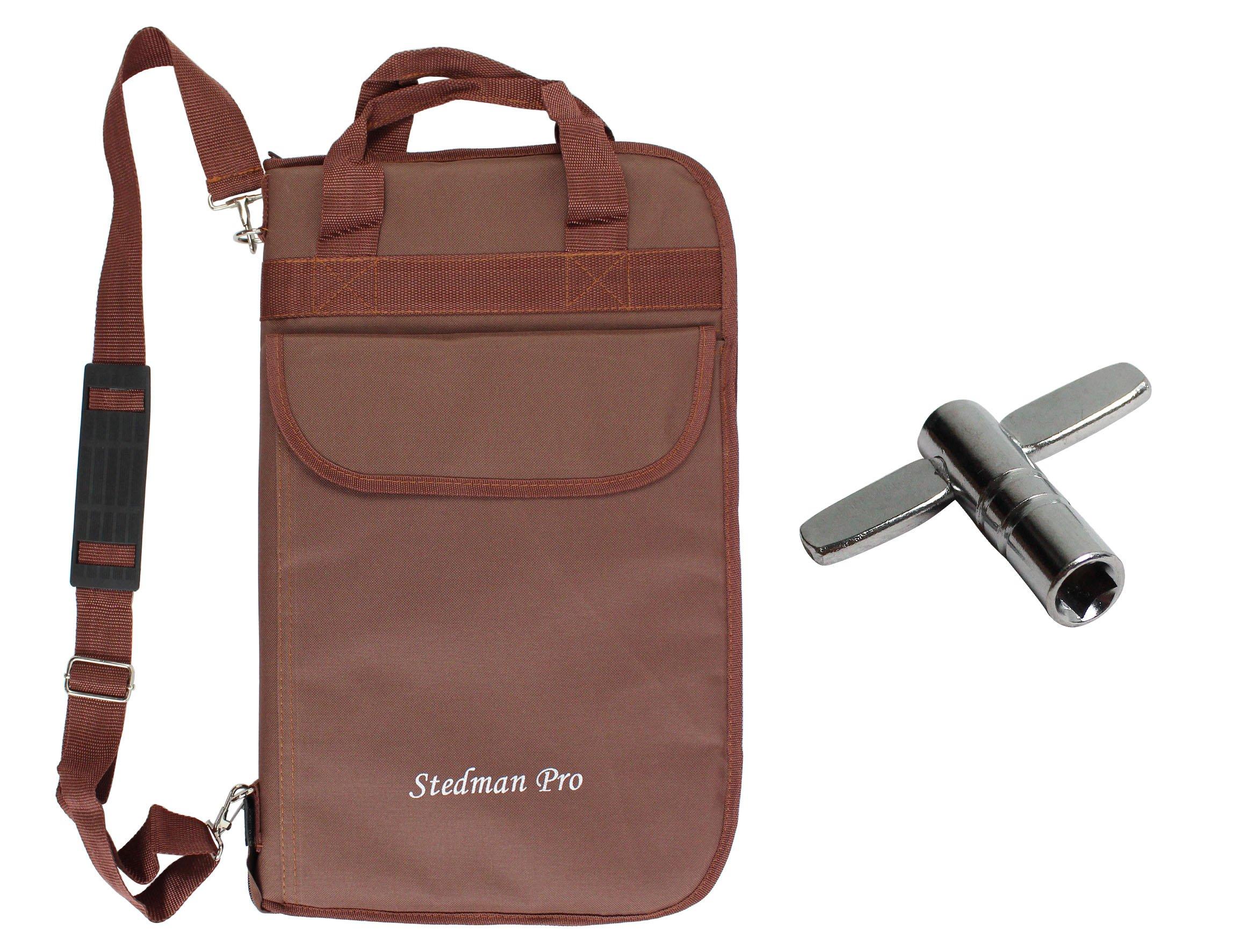 YMC DSB20-CF Pro 15mm Drumstick Bag Holder Mallet Bag with a shoulder strap,Drum Key - Coffee