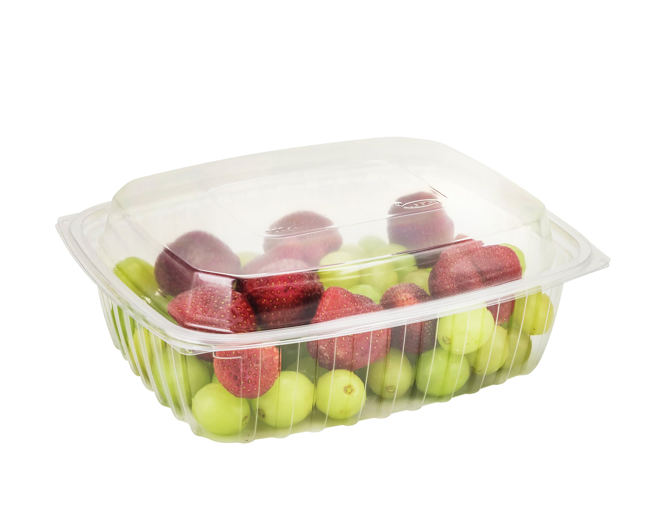 Dart C32DER, 32-Ounce ClearPac Clear Rectangular Plastic Container With A Dome Lid, Take Out Salad Deli Fruit Food Disposable Containers (50)