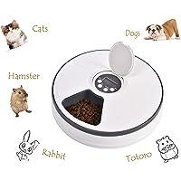 YGJT Dispensador Automático de Comida para Gatos - Comedero para Perros y Gatos con 6 Compartimientos - Comederos Automáticos de Croquetas