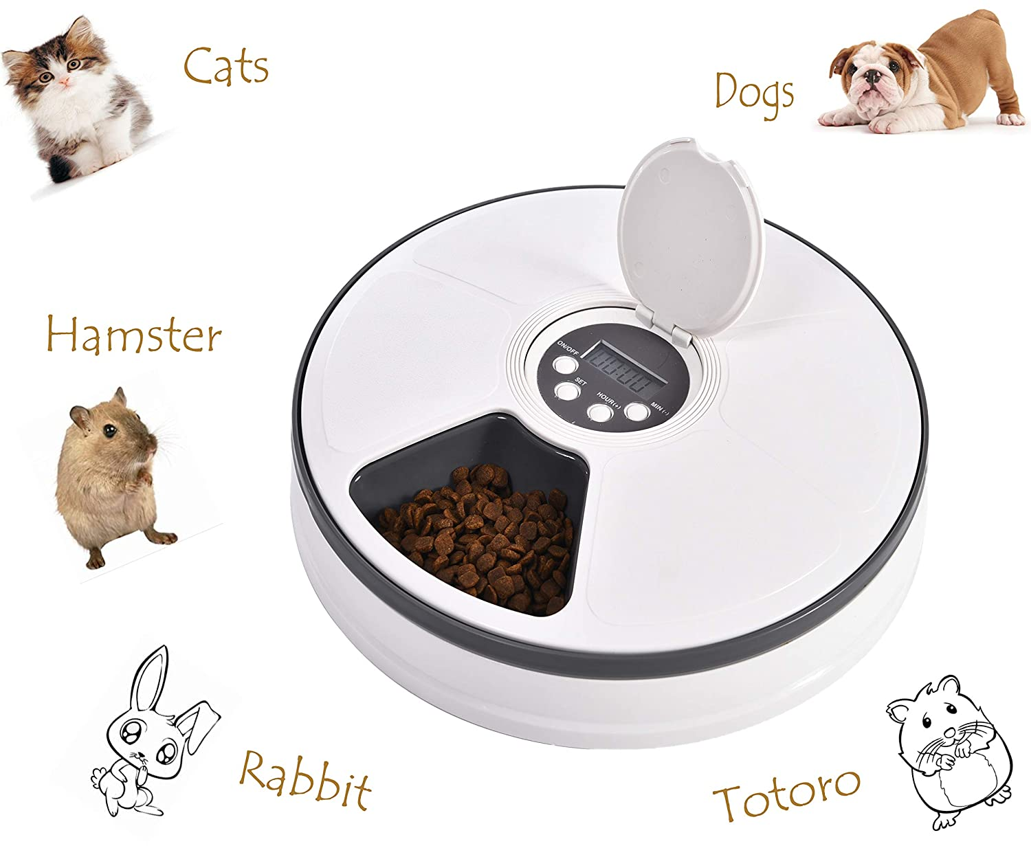 YGJT Automatic Pet Feeder with timer 6 Meals for Cats Dogs Hamster Small Animals Pet Accessoiries