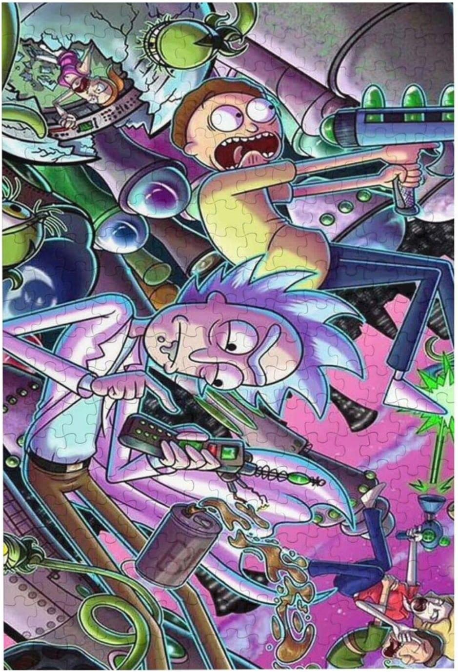 Easier Rick and Morty Puzzle-300 Pieces Color Challenge Jigsaw Puzzles No Stress No Mess Faster Cleaner Suited for All Puzzle Shapes//Sizes for Adults and Kids