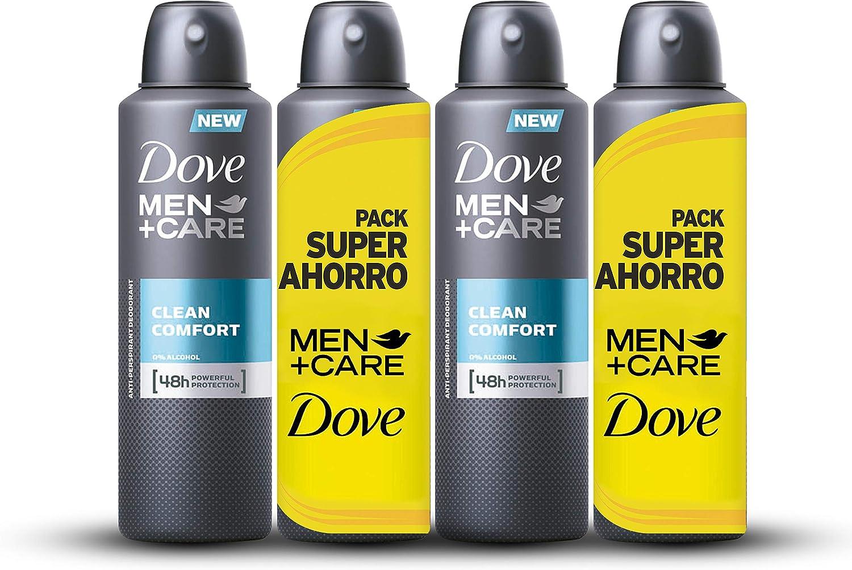 Dove - Desodorante Clean Confort Hombre Ahorro - pack de 2 x 2 x 200 ml (total 800 ml)